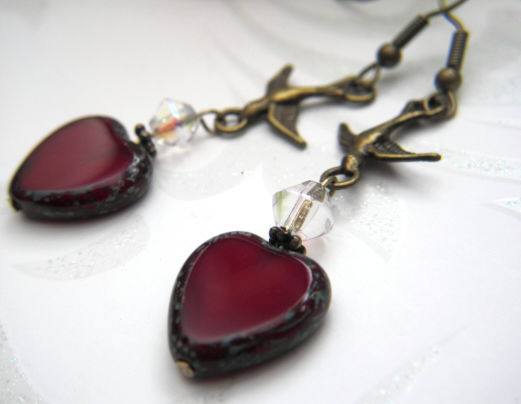 Antique Brass Sparrow Red Heart Dangle Earrings - product images  of