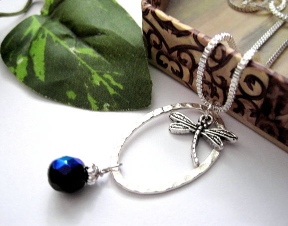 mystical dragonfly oval ring infinity necklace