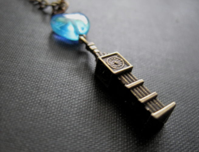 Big Ben Clock Tower Blue Heart Necklace, Elizabeth Tower Necklace - product images  of