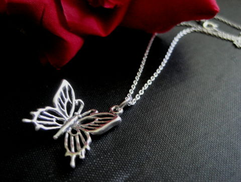 Sterling,Silver,Butterfly,Necklace,sterling silver, butterfly, necklace, silver butterfly, 3d butterfly, solid silver, silver chain, vamps jewelry