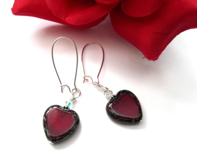 Red Hearts Sweetheart Dangle Earrings - product images  of