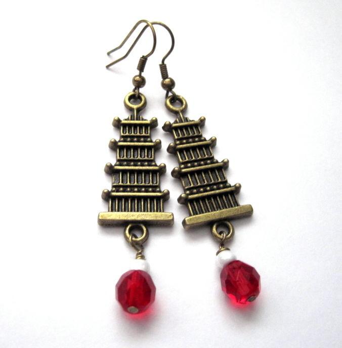 Brass Pagoda Dangle Earrings