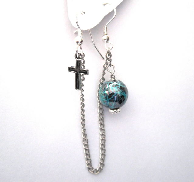 Mini Cross with Chain Multi Pierced Double Hook Earring - product images  of