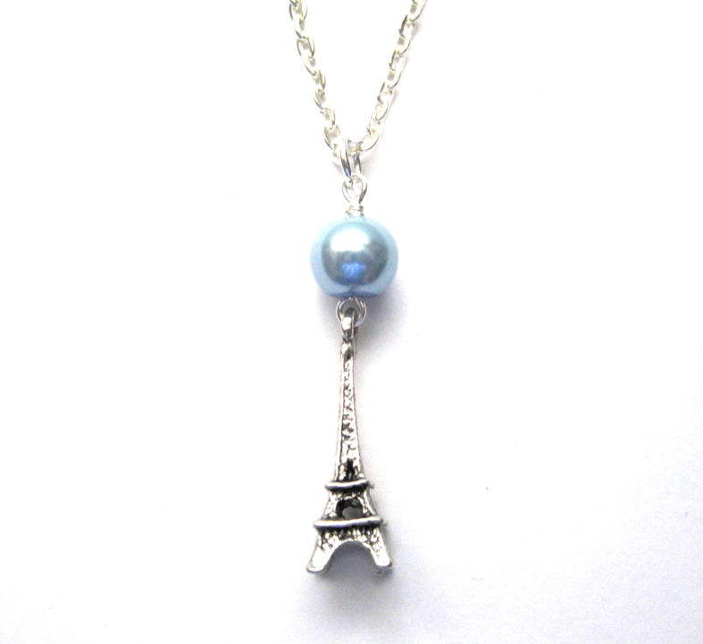 antique silver eiffel tower necklace blue pearl