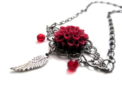 Gothic,Filigree,Gunmetal,Red,Dahalia,Angel,Wing,Vamp,Necklace,Gothic Filigree Gunmetal Red Dahalia Angel Wing Vamp Necklace, gothic, vamp, goth, victorian, gunmetal, red, angel wing, wing, necklace, dahalia, handmade, cabochon necklace, vamps jewelry, gothic necklace
