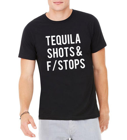 TEQUILA,SHOTS,&,F/STOPS,UNISEX,t shirt, tee, unisex, cute, tequila, fstops, cool, shirt, photography, aperture, PHOTO SHIRTS, TEE, FASHION, MAN, MES, PETAL PIXEL, FSTOPPERS