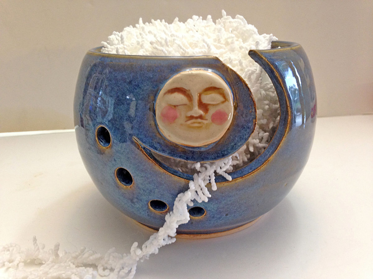 moon yarn bowl for knitting and crochet $ 46 yarn bowl knitting bowl ...