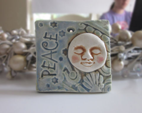 Ceramic,Moon,Ornament,Tile,Ceramics_and_Pottery,Decoration,christmas,holiday,hanukkah,tile,wall_hanging,emt_etsymudteam,stars,love,FREE_SHIPPING,ornament,wedding_favor,holiday_ornament,moon_peace,clay,glaze,lead_free,earthenware_clay