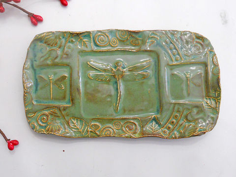Dragonfly,Soap,Dish,Ceramic,Sponge,Holder,w,feet,rustic,green,Butter,Ceramics_And_Pottery,Soap_Dish,Clay,Ceramic_Butter_Dish,Sponge_Holder,Dragonfly_Dish,Butter_Dish,Etsymudteam,Kitchen,Dragonfly_Soap_Dish,Ceramic_Soap_Diah,Ceramic_Dragonfly,Rustic,Woodland_Forest,olive_green,earthenware clay,glaze,ceramic,pottery