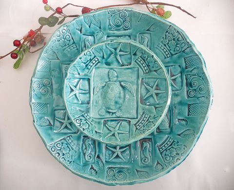 Sea,Turtle,Serving,Bowls,Nesting,Chip,and,Dip,Island,Wedding,Turquoise,Aqua,Teal,12,7,with,feet,nesting bowls, ceramic sea turtle bowl, sea turtle bowl, rustic bowl, lace bowl, handmade dinnerware, handmade pottery