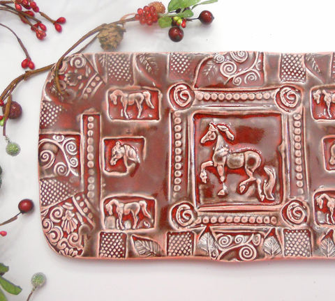 Horse,Platter,Handmade,Dinnerware,Large,wedding,equestrian,horse,table,setting,ruby,red,horse pottery, horse platter, horse tray, equestrian