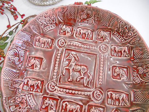 Horse,Bowl,Serving,glazed,in,Ruby,Red,Handmade,Pottery