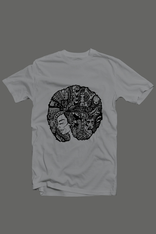 Cryptic Afro Lady Tshirt; Grey - product images  of