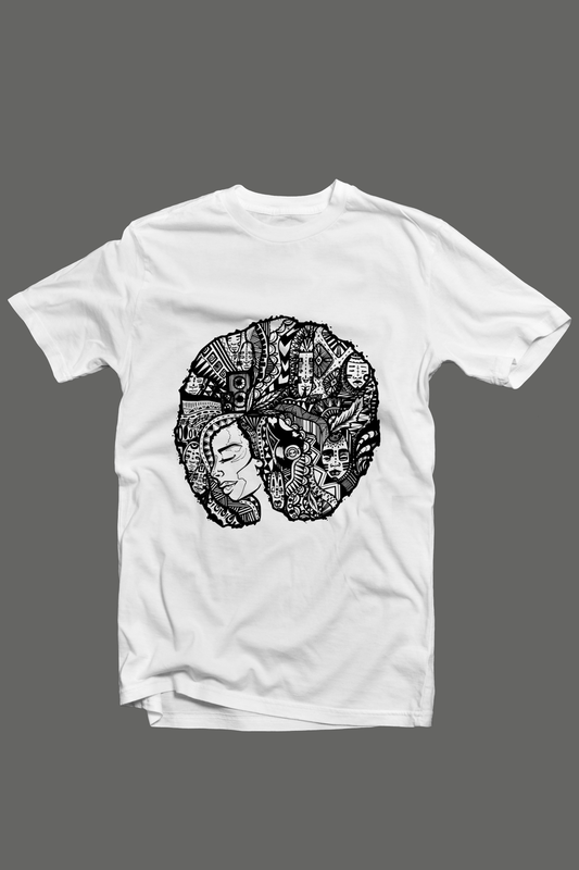 Cryptic Afro Lady Tshirt; White - product images  of