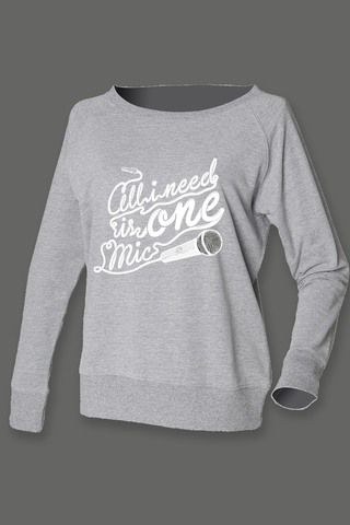 AVMotion,womens,One,Mic,sweatshirt,-,wide,neck,grey, Clothing, One Mic, grey jumper, 2015, 2016, women, slounge, sweatshirt, music, sales, discount, white print, skinny fit, off shoulder