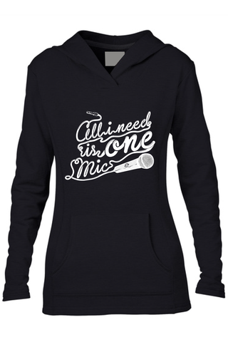 AVMotion,womens,One,Mic,Hood,-,black, Clothing, One Mic, black hood, 2015, 2016, women, sweatshirt, music, sales, discount, white print, fitted