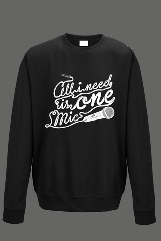 AVMotion,One,Mic,Sweatshirt,-,Black, Clothing, One Mic, black jumper, 2015, 2016, women, men, unisex, sweatshirt, music, sales, discount, white print, xmas present