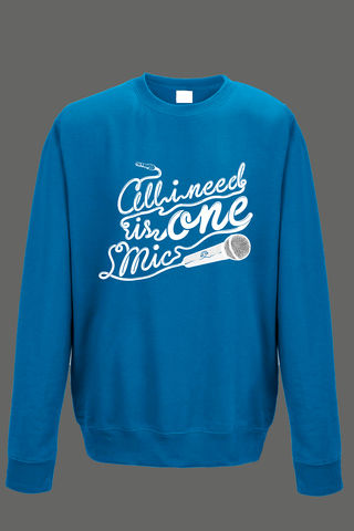 AVMotion,One,Mic,Sweatshirt,-,Blue, Clothing, One Mic, blue jumper, 2015, 2016, women, men, unisex, sweatshirt, music, sales, discount, white print, xmas present