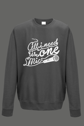AVMotion,One,Mic,Sweatshirt,-,Grey, Clothing, One Mic, grey jumper, gray, 2015, 2016, women, men, unisex, sweatshirt, music, sales, discount, white print, xmas present