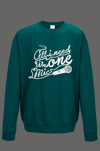 AVMotion,One,Mic,Sweatshirt,-,Jade,Green, Clothing, One Mic, green jumper, jade, 2015, 2016, women, men, unisex, sweatshirt, music, sales, discount, white print, xmas present
