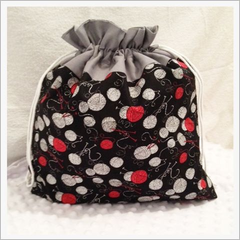 Large,Black,,Red,,Yarn,Balls,Project,Bag,Project Bag, Knitting, Crochet, Sewing, Travel Bag, Accessory Bag, Large Project Bag, Drawstring Bag, knitting needles