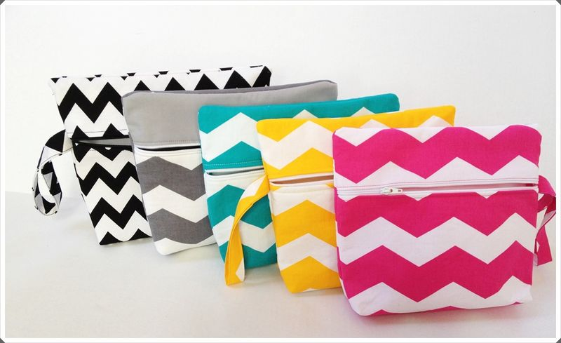 Grey Chevron Makeup Wristlet Clutch - product images  of