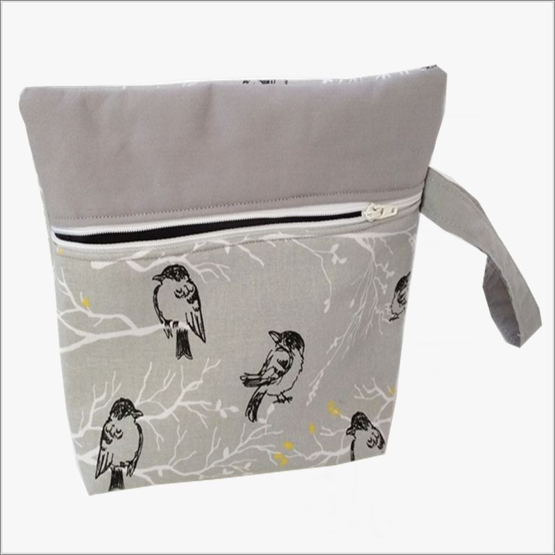 Grey Bird Design Makeup Wristlet Clutch - product images  of