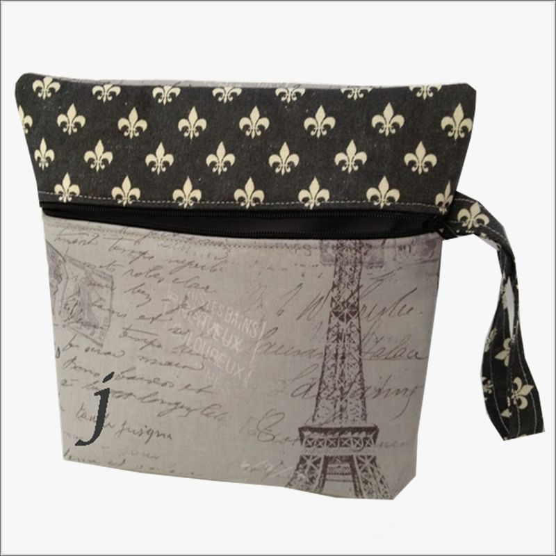 Fleur de lis Makeup Wristlet Bag - product images  of