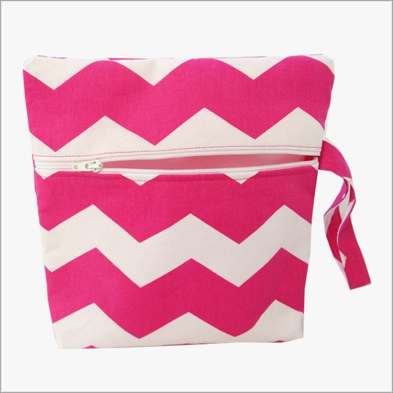 Pink and White Chevron Makeup Wristlet Clutch - product images  of