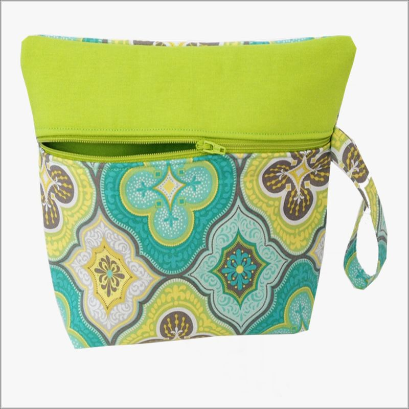 Blue and Green Morrocon Design Makeup Wristlet Clutch - product images  of