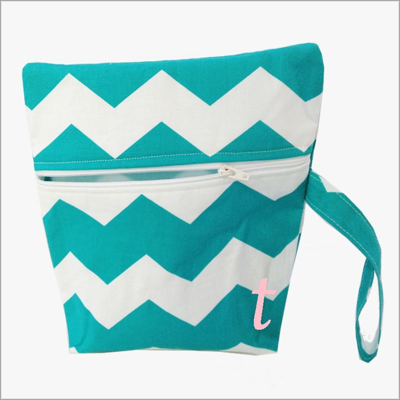 Turquoise and White Chevron Makeup Wristlet Clutch - product images  of