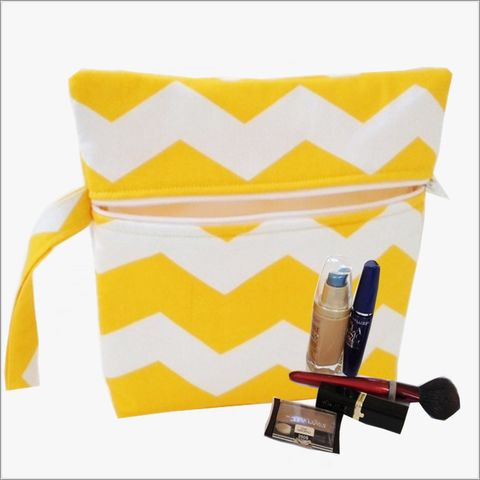 Yellow,and,White,Chevron,Makeup,Bag,Wrislet,Clutch,Yellow Chevron Makeup Bag, Yellow Chevron Wristlet, Chevron Clutch, Bridal Gifts