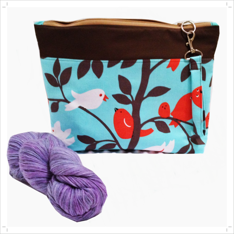 Pretty Birds in Turquoise skies Project, knitting, zipper craft bag - product images  of