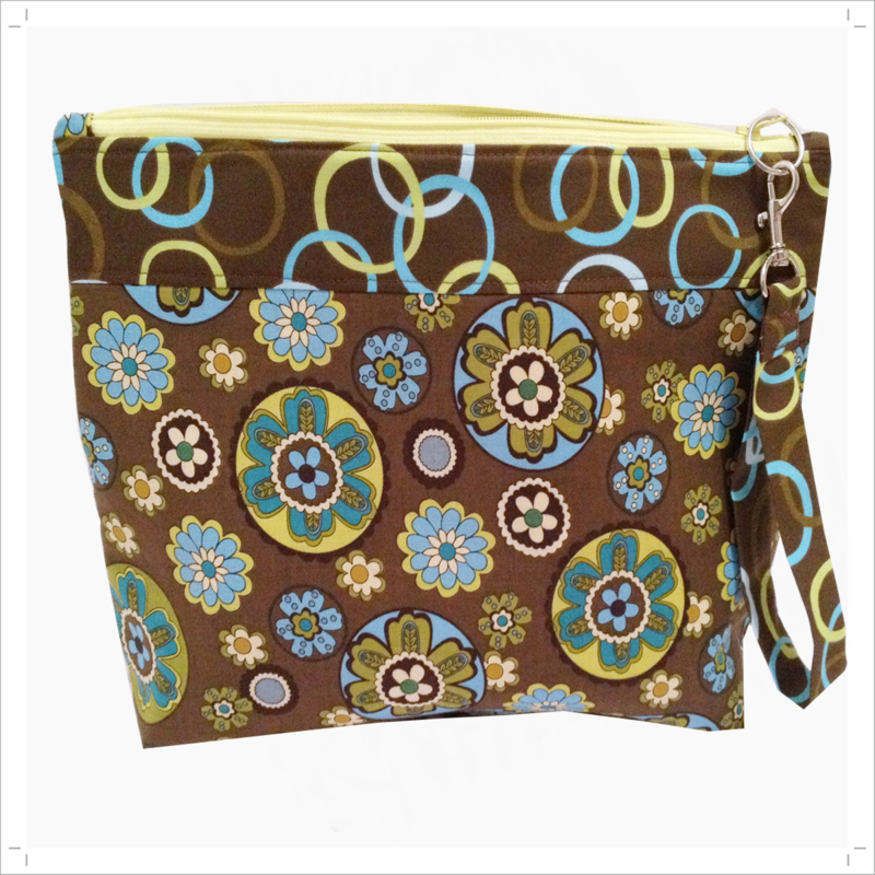 Project bag in olive green and turquoise floral design - product images  of