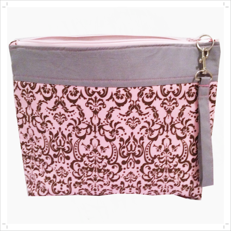 Pink and Grey Damask Project, knitting, craft bag - product images  of