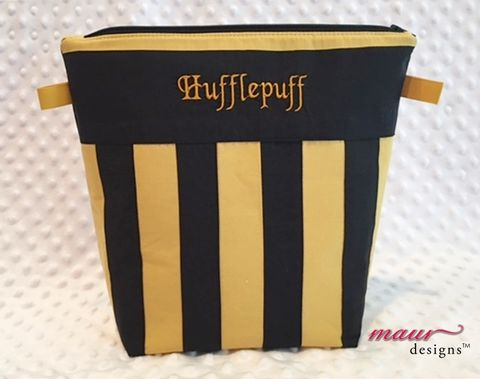 Hufflepuff-,Harry,Potter,Project,Bag,Harry Potter, Howarts,Hufflepuff,  Project Bags, Knitting Bag, crochet bag