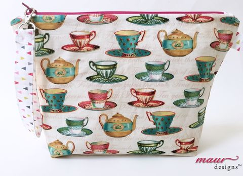 Tea,Cups,and,Pots,-,Project,Bag,Tea Cup Project Bags, Knitting Bags, Crochet Bag, Project Bag