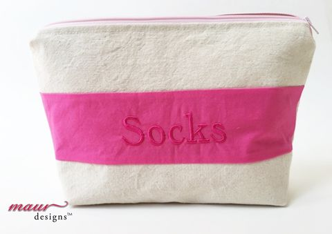 Pink,Socks,-,Project,Bag,Pink Socks Project Bag, Embroidered Bag, knitting, crochet