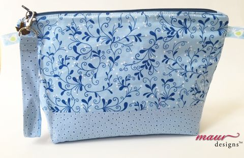 Blue,vines,and,polka,dots,-Project,Bag,blue floral project bags, knitting, crochet, project bags