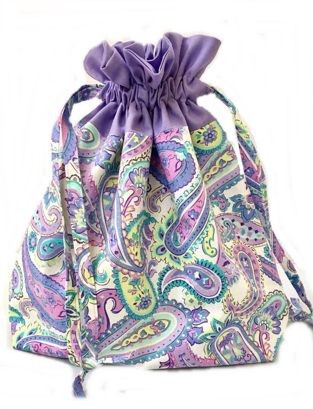 Large Paisley Drawstring Project Bag - product images  of