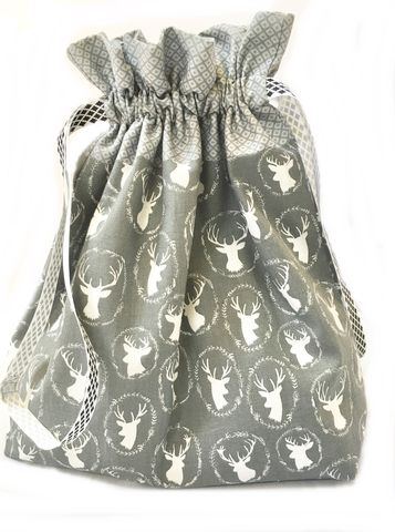 Large,Stag,head,Project,Bag,Project Bag, Knitting, Crochet, Sewing, Travel Bag, Accessory Bag, Large Project Bag, Drawstring Bag, Harry Potter, Stag, Deer head.