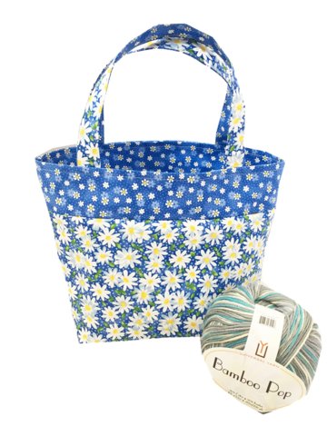 Daisy,Blue,Pop-Up,Sock,Project,Bag,Project Bag, Knitting, Crochet, Daisy