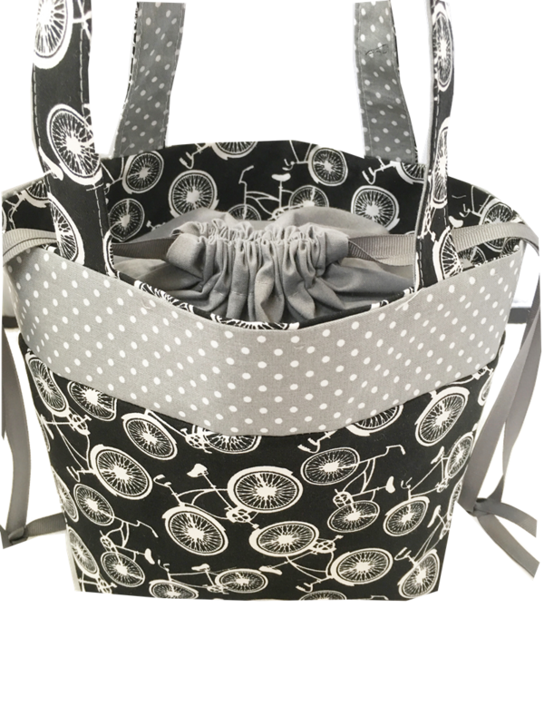 Black and White Bicycle Sock Pop Up project bag - product images  of