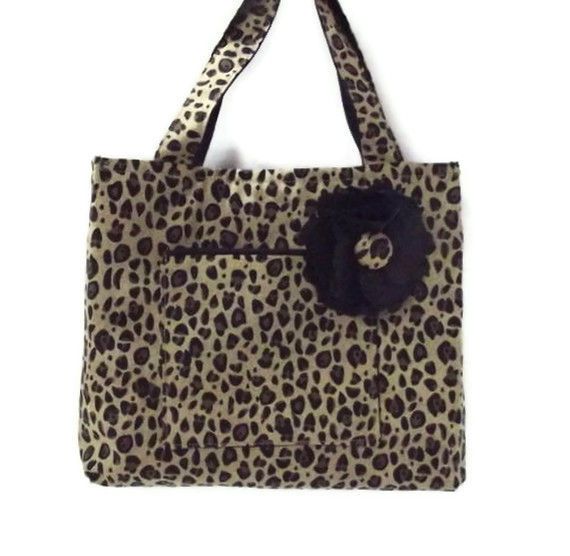 Leopard Small Tote Bag with Flower Accessory - product images  of
