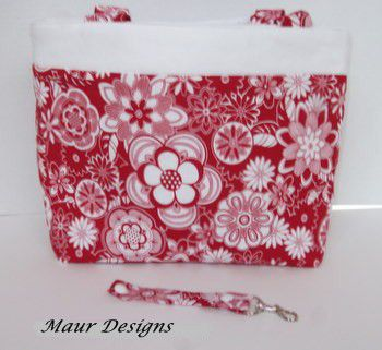 Red,and,White,Floral,Tote,Bag,Red and White Floral Tote Bag