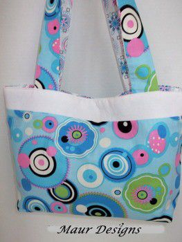 Retro,Circled,Tote,Bag,Retro Circles, Blue, Pink, Green Circles Tote Bag, Funky Retro Tote
