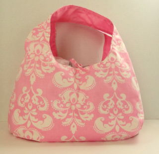Pink,and,White,Damask,Reversible,Hobo,Style,Purse,Hobo Purse, Pink Damask, Reversible Purse, Pink, White, handmade