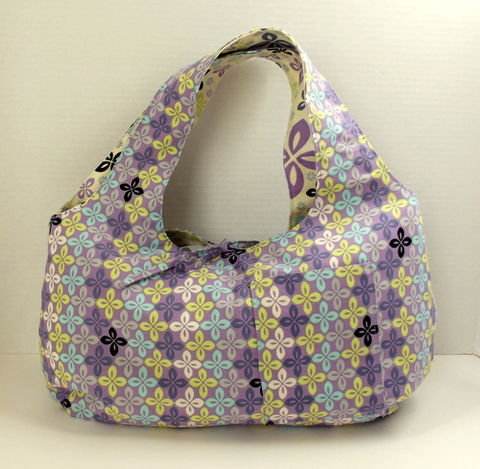 Lavendar,,Turquoise,,Black,,and,Yellow,Reversible,Hobo,Style,Purse