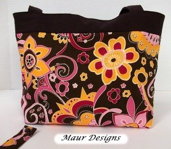 Chocolate Brown and Floral Tote Bag and 5 piece Accessory Set - product images  of