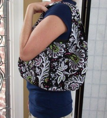 Black,and,White,Floral,Reversible,Purse,Black and white floral reversible purse, small under arm purse